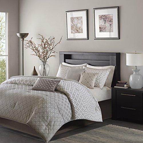 Hudson 7 Piece Comforter Set- Silver