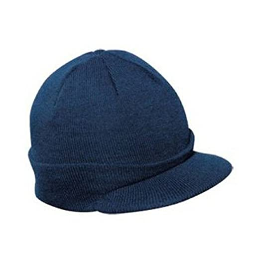 9949480380f Image Unavailable. Image not available for. Color  Knit Brim Ski Hat - Winter  Visor Cap Skull Beanie (Navy)