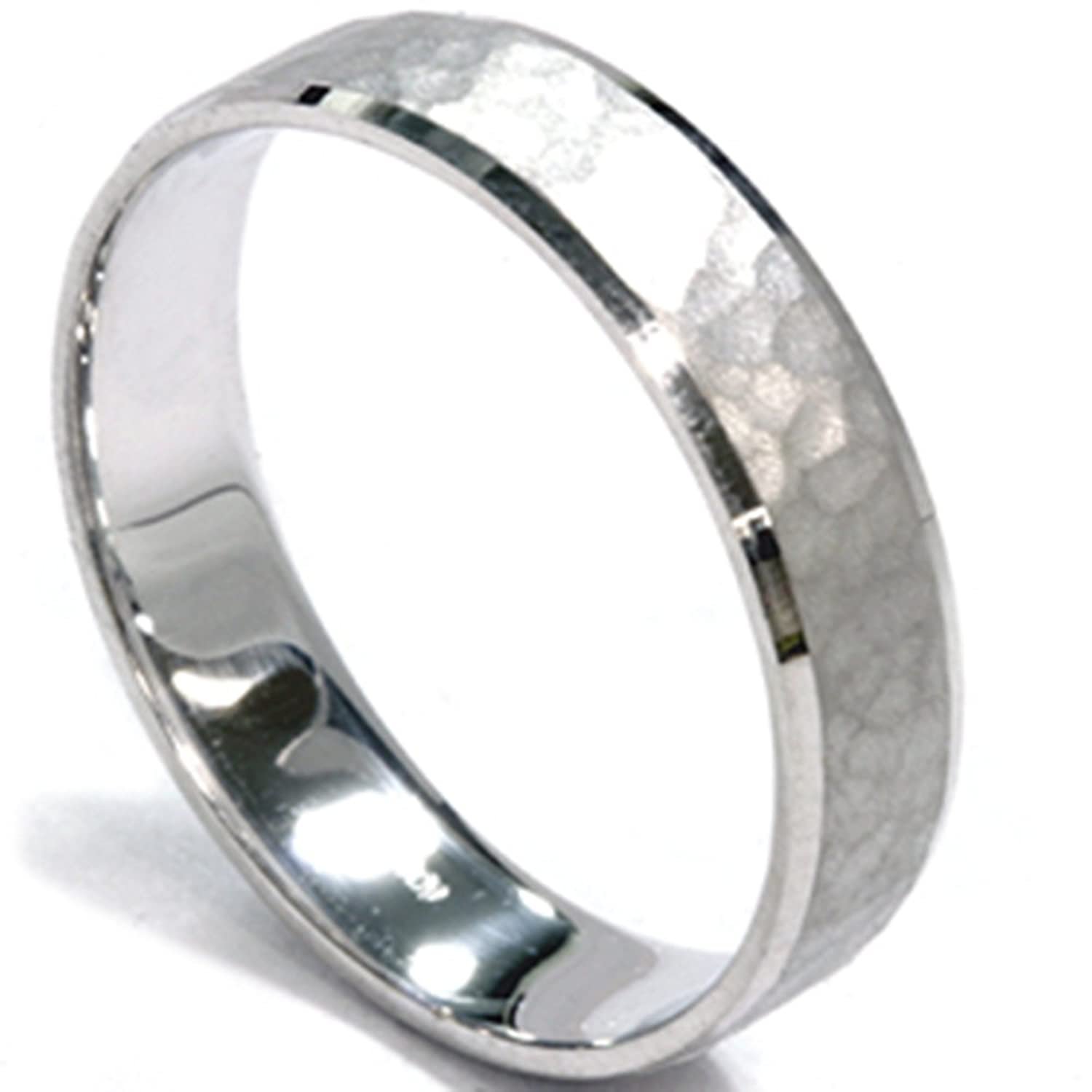 Mens 5mm White Gold Hammered Wedding Band