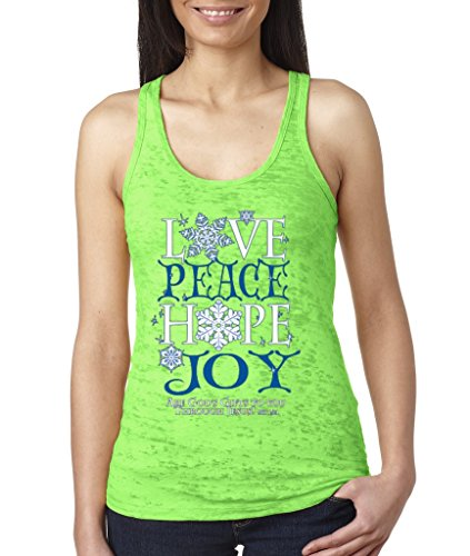 Love Peace Hope Joy Burnout Tank Holiday Xmas Christmas Tradition Racerback Neon Green 1054