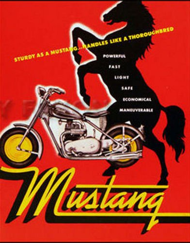 1948 1949 1950 1951 1952 1953 1954 1955 1956 1957 MUSTANG MOTORCYCLE DEALERS SALES BROCHURE Includes MC-75 Engine, General Specifications, Performance, Front Forks, Wheel, Transmission etc ()