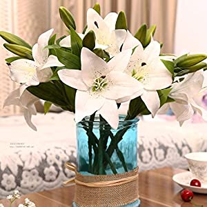 1pc 3 Heads Real Touch PVC Artificial Silk Lily Flower Wedding Garden Decoration Home Farmhouse Decor Festival Gift A6540,A65-5 3