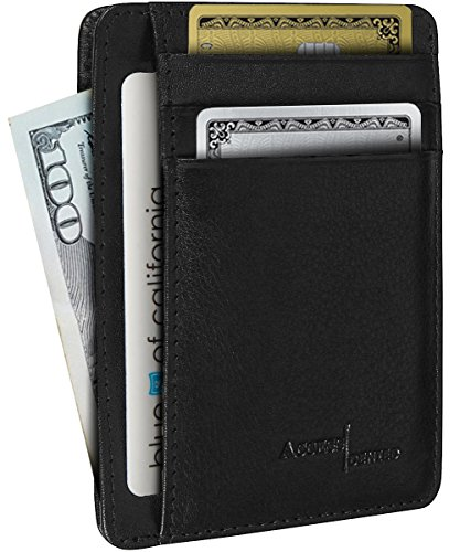 Genuine Leather Mens Wallet Cardholder Slim RFID Blocking (Black)