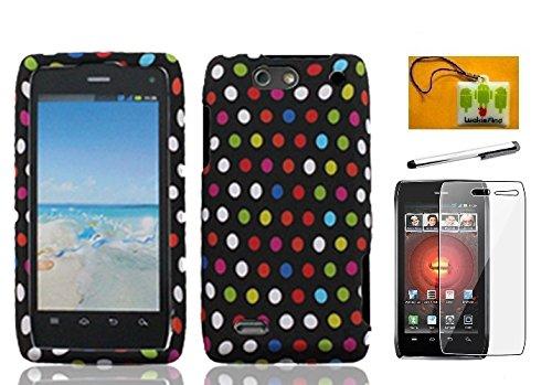 LF 4 in 1 Bundle - Designer Hard Case Cover, Stylus Pen Screen Protector & Wiper for Verizon Motorola Droid 4 XT894 (Rainbow Dots) ()