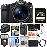 Sony Cyber-Shot DSC-RX10 IV 4K Wi-Fi Digital Camera 64GB Card + Sony LCJ-RXJ Case + Flash + Battery & Charger + Tripod + 3 Filters Kit