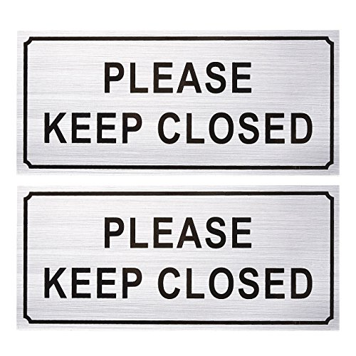 2-Pack Please Close Signs - Please Keep Closed Gate Signs, Close Signs for Dog Gate, Business and Home Use, Silver - 7.87 x 3.6 inches from Juvale