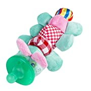 Baby Pacifier Holder Stuffed Animal Soft Plush Toy with Detachable Silicone Baby Dummy Binky Teething Soother Clip Leash & Squeaky (Caterpillar)