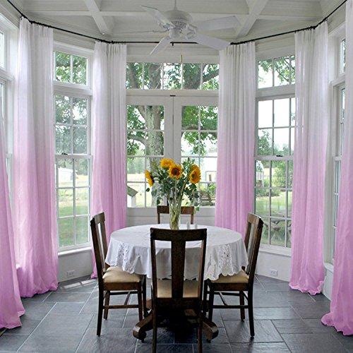 ChadMade Indoor Outdoor Gradient Ombre Sheer Curtain Pinch Pleat Violet 84
