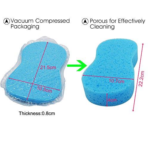 EEFUN 8 PCS Éponge de Lavage de Voiture, Grande éponge pour lavage auto moto voiture cuisine maison bureau, outil de nettoyage multi-usages (bleu et vert)