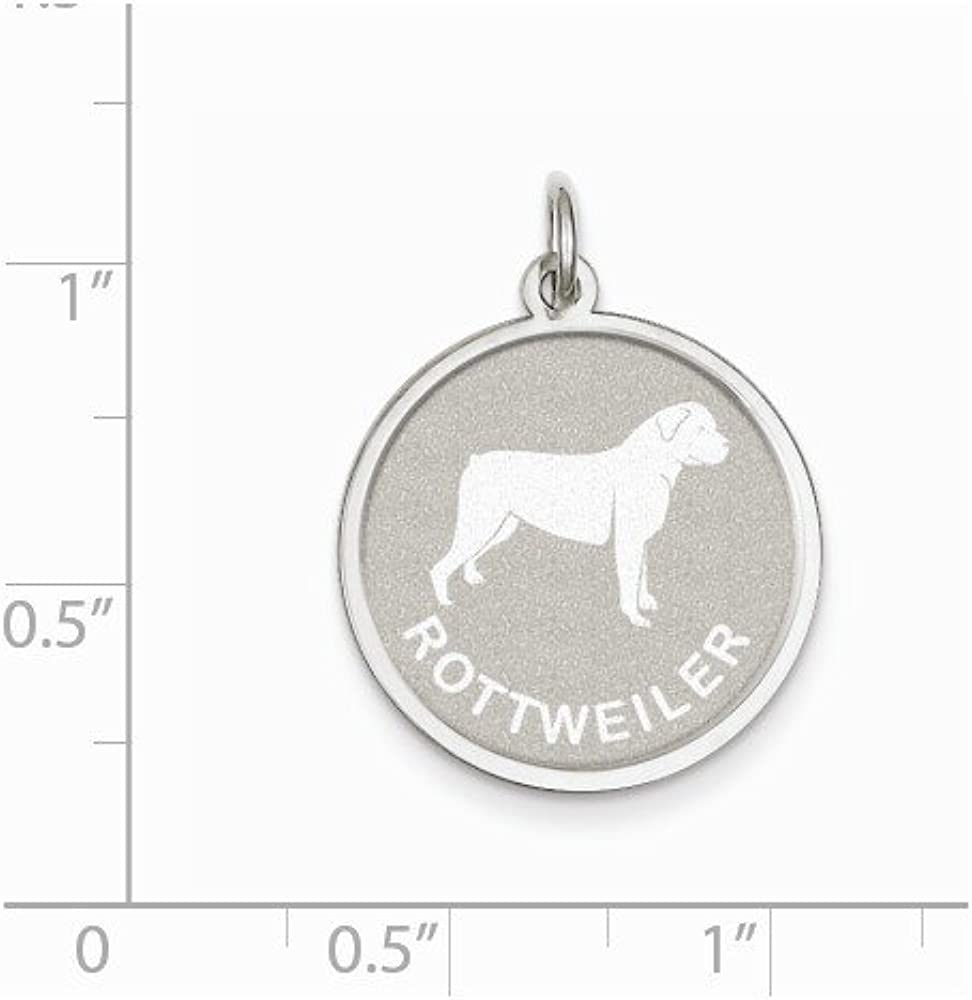 16-20 Mireval Sterling Silver Rottweiler Disc Charm on a Sterling Silver Chain Necklace