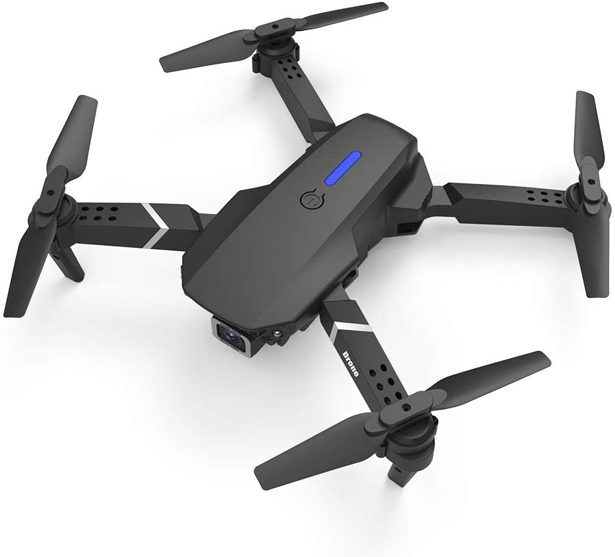 WENMOS Foldable Drone with 4k/1080p Camera for Kids and Adults, Quadcopter Drone with Remote,GPS Return Home,High-Speed Rotation,Altitude Hold,Headless Mode (Black 2-4K, Double Camera-4K)