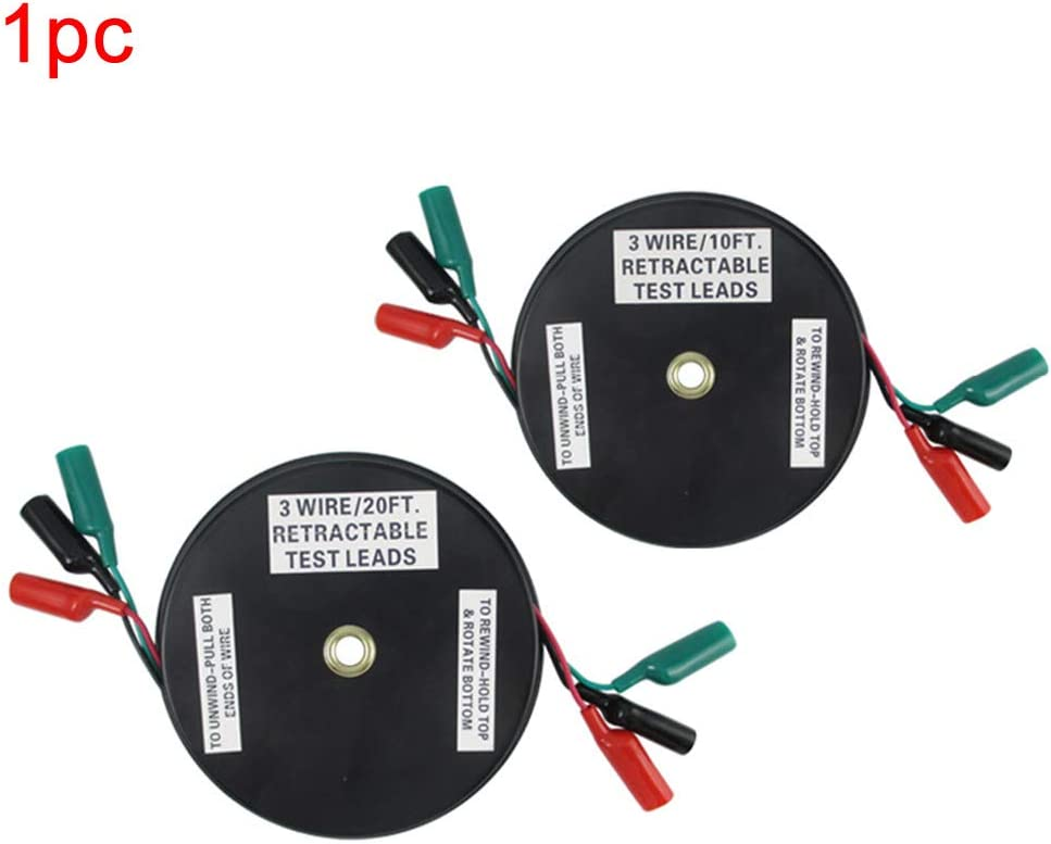 Car Repair Test Lead Cable 3m//6m Wire Reel with Alligator Clips Auto Multimeter Connection with Three Wire Connection Port in Each Side Practical Retractable Durable Wire Reel