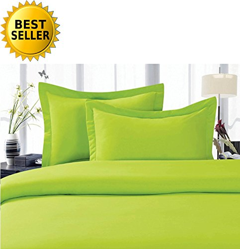Celine LinenBest, Softest, Coziest Duvet Cover Ever! 1500 Thread Count Egyptian Quality Luxury Super Soft Wrinkle Free 2-Piece Duvet Cover Set, Twin/Twin XL, Lime ()