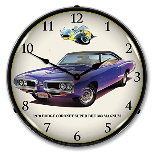 1970 Dodge Coronet Super Bee 383 Magnum Purple Muscle Car Wall Clock 14