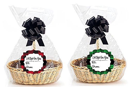 CakeSupplyShop Red/Green Plaid Designer Style Gift Basket Packaging Cello Bags 2pk size 18x30