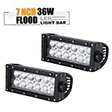 police car spot light handle - TURBOSII 7 INCH Led Light Bar Flood Driving Fog Lights For Chevrolet Dodge Ford Gmc Jeep Toyota Polaris Rzr Ranger Atv Utv Can Am Maverick Boat Suv Front Bumper Grill Handle Bar Mount, 36w, Pack of 2