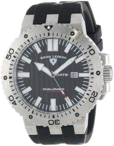 Swiss Legend Men's 10126-01 Challenger Black Textured Dial Black Silicone Watch