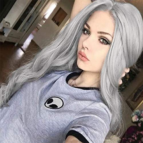 Womens Silver Long Wavy Curly Wigs Cosplay Costume Full Wigs Synthetic Fiber Replacement WigWig Cap