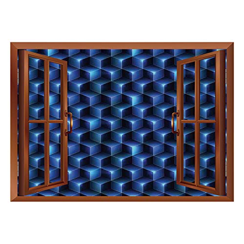 - SCOCICI Window Mural Wall Sticker/Navy Blue Decor,Digital Effect Neon Shaded Cubes Edgy Patterns Contemporary Illustration Home,Dark Blue/Wall Sticker Mural