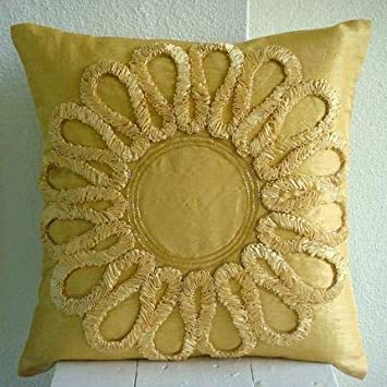 The HomeCentric Designer Gold Decorative Pillow Cover, Tropical Floral Pillow Cases, 12 x12 Throw Pillow Cover, Art Silk Square Pillowcases, Ribbon Flower Throw Pillows Cover – We All Blossom