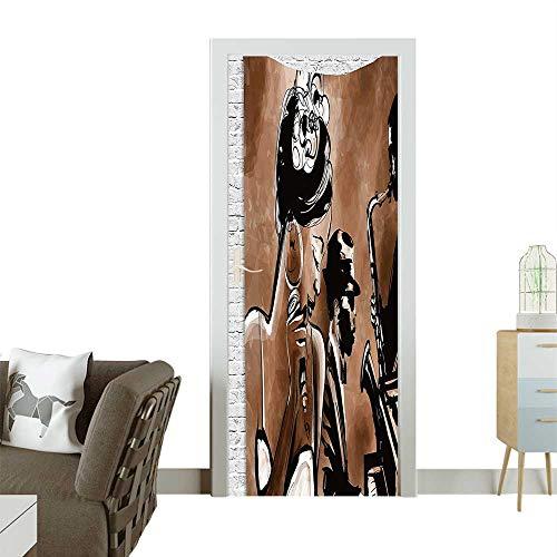 Homesonne Door Decals sician Gifts for Men Women Musical Vintage Retro Baratis Wall Hanging Tapestry THR Pressure resistantW23.6 x H78.7 INCH