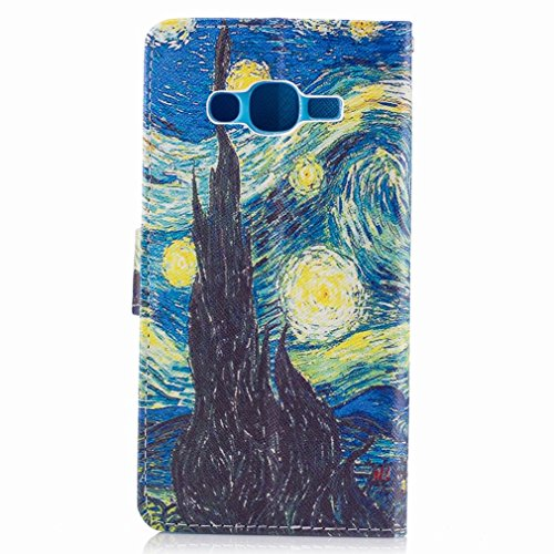 Yiizy Samsung Galaxy J2 Prime / G532M / G532F / G532G Custodia Cover, Sogno Della Città Di Notte Design Sottile Flip Portafoglio PU Pelle Cuoio Copertura Shell Case Slot Schede Cavalletto Stile Libro