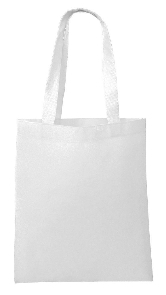 Reusable Convention - Conference Tote Bags Non Woven Bright Colors for Promotions, Giveaway Favors, White, Set of 100