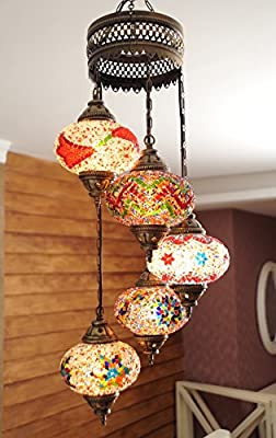 (Choose from 12 Designs) Turkish Moroccan Mosaic Glass Chandelier Lights Hanging Ceiling Lamps (Large - 4)