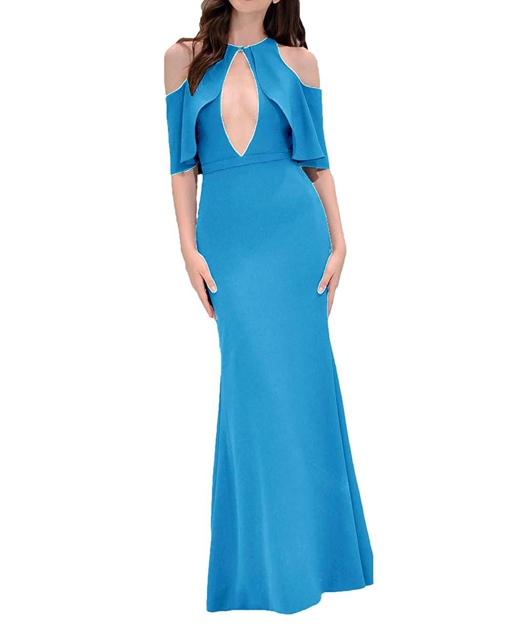 bluee alilith.Z Sexy Keyhole Neck Mermaid Prom Dresses Ruffles Half Sleeves Formal Evening Dress Party Gowns for Women 2019 Long
