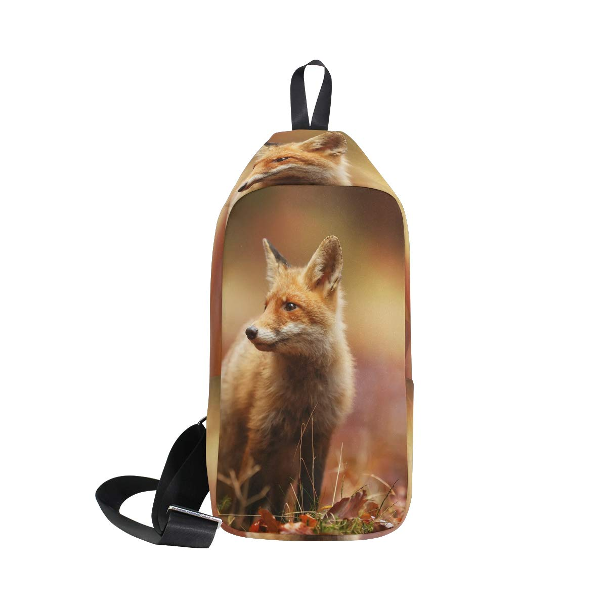 TFONE Animal Fox Pattern Crossbody Bag Lightweight Chest Shoulder Messenger Pack Backpack Sling Bag