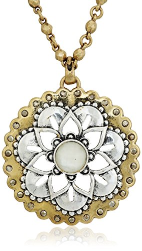 Lucky Brand Floral Pave Pendant Necklace