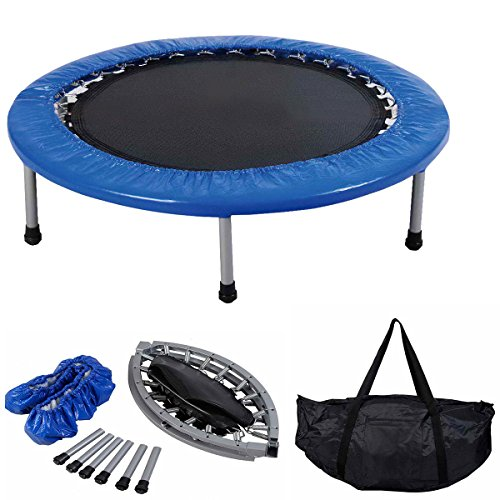 COSTWAY Mini Trampoline Set, 38' Foldable Fitness Exercise Bouncer Sports W/Carry Bag