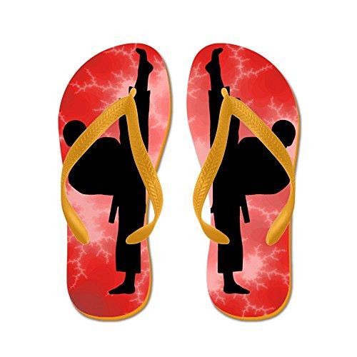 Cafepress Karate Martial Arts Kick Boy - Flip Flops, Grappige String Sandalen, Strand Sandalen Oranje
