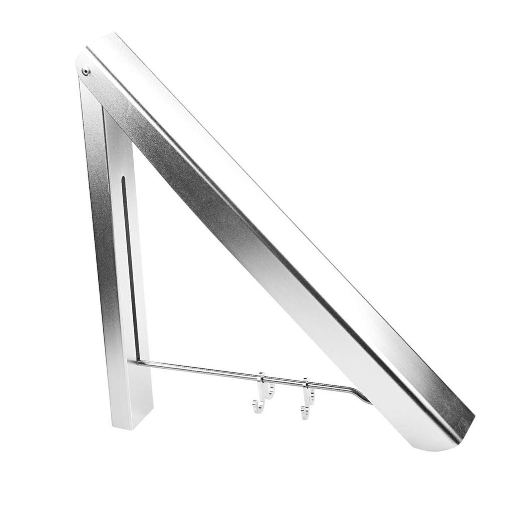Prettyia Folding Clothes Hanger Wall Mounted Indoor Outdoor Aluminum Alloy Clothes Rack Holder Slim Design for Bedroom, Bathroom, Balcony by Prettyia