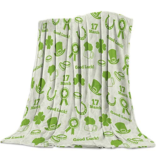 - Singingin St Patrick's Day Elements Good Luck Shamrock Hat Flannel Throw Blanket Super Soft Warm Snuggle Stadium Blanket for Couch Chair Sofa and Bed Everyday Use 40
