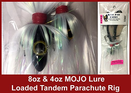 Blue Water Candy - Rock Fish Candy 8 oz & 4 oz Mojo Lure Loaded with 9-Inch Swimbait Shad Bodies Tandem Parachute Rigged & Ready (Black Mojo on Pearl White & Black Shad) ()
