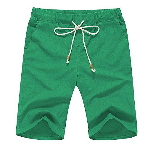 Janmid Men's Linen Casual Classic Fit Short (2XL, Green) ()