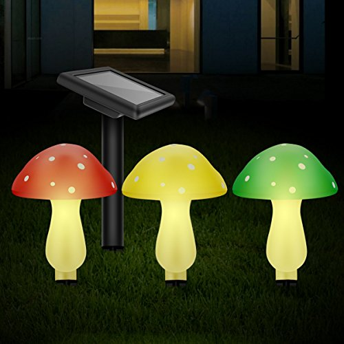 Outdoor Solar Garden Lights, Solar Powered Mushroom Lights, LED Solar Decor Lights for Garden, Patio, Backyard (Plastic) by Greluna