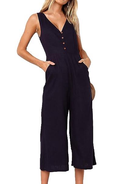 95387a658b1 Assivia Womens Sexy Striped Spaghetti Strap Backless Wide Leg Jumpsuit  Rompers (2042Black