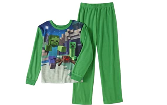 ec2890692 Amazon.com  ame Minecraft Boys Poly 2-Piece Pajama Set (10 12
