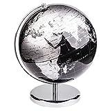 Exerz World Globe (Dia 12''/30 cm) – Educational/Geographic/Modern Desktop Decoration - with a Metal Base - Metallic Black