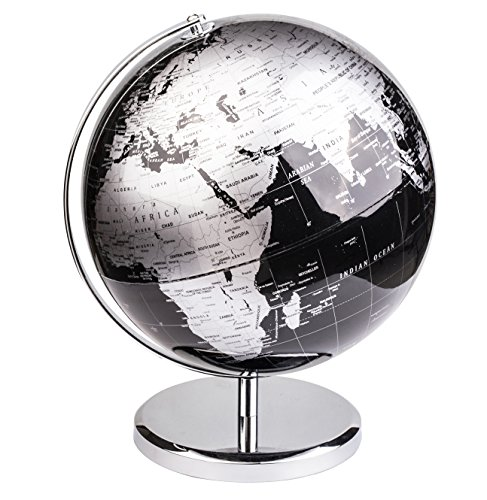 Exerz World Globe (Dia 12''/30 cm) – Educational/Geographic/Modern Desktop Decoration - with a Metal Base - Metallic Black by Exerz
