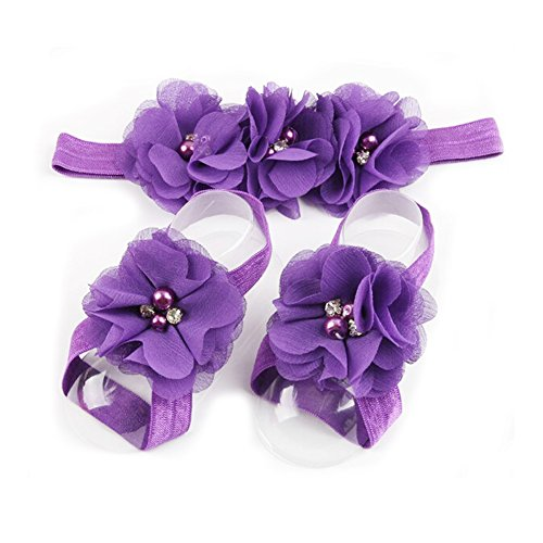 LD DRESS Baby Girl Foot Flower + Headband (Purple)