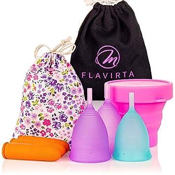 Flavirta 3 Copas Menstruales (1 Pequeñas y 2 Grandes), Gratis Taza Plegable Reutilizable