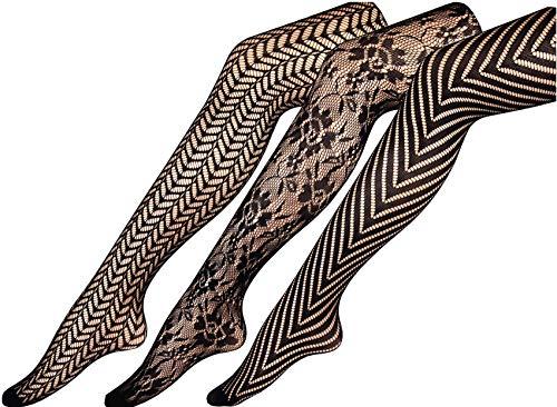 CHIRRUPY CHIEF Women Fishnet Tights Patterned Fishnets Stockings Small Hole L XL XXL (XL, - Lace Stockings Nylon