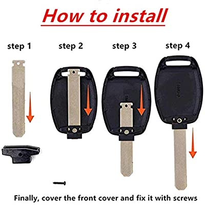 Key Fob Shell New 3+1 Buttons Replacement For Keyless Entry Smart Remote Control Key Fob Case Fit For 2008-2012 Honda Accord 2006-2013 Honda Civic EX 2009-2015 Honda Pilot: Automotive
