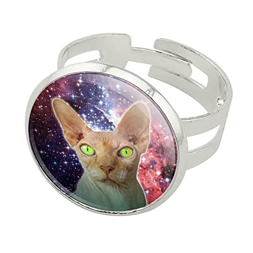 Sphynx Space Cat Silver Plated Adjustable Novelty Ring - Sphynx Cats In Costumes