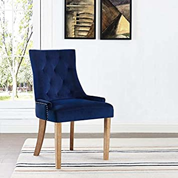 Phenomenal Modway Pose Tufted Performance Velvet Upholstered Kitchen And Dining Room Chair With Nailhead Trim In Navy Frankydiablos Diy Chair Ideas Frankydiabloscom