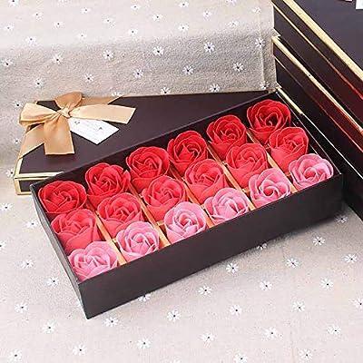 18 cajas de regalo de flor de jabón rosa Regalo de Navidad para San Valentín Regalo de cumpleaños creativo y práctico: Amazon.es: Belleza