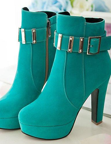 Mujer Eu42 Green Moda Xzz A Botas La Tacón Uk3 De 5 5 Punta Cn43 Rojo us5 Vestido Zapatos Cn35 Redonda 5 Robusto Uk8 5 Eu36 Vellón Black Casual Negro us10 aaqErFwx